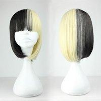 New Fashion 45cm Long Black and Yellow Beautiful lolita wig Anime Wig