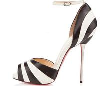 Fashion girls large size summer zebra print high heel women peep toe sandals 11 cm stiletto shoes