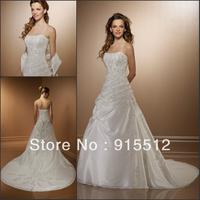 Hot Sale Elegant Sweetheart Neck Appliques Embellished Lace Up Court Train Custom Made Bridal Wedding Dress