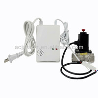 Home Security Gas leakage detector connect to elecmagnetic shut off valve