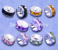 Free Shipping! 100 Mixed SP Rhinestone Rondelle Spacers Beads 8x4mm (B08999)