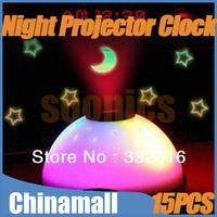 Wholesale Brand New 15pcs/lot Romantic 7 Color Change Star LED Night Light Sky Projector Lamp Digital Alarm Clock Magic EMS DHL