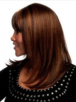 Fashion lady's shoulder length straight brown wig synthetic wig Free Shipping