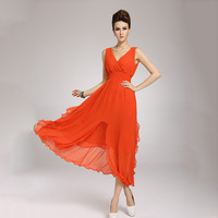 2013 New Arrival Women Long Evening Dress Chiffon Sleeveless Style 6 Colors Dresses Free Shipping Wholesale & Retail