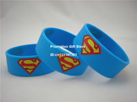 """Superman Bracelet, The Man of Steel Silicon Wristband, 1"""" Wide Band, Blue, Adult, Promotion Gift, 50pcs/Lot, Free Shipping"""
