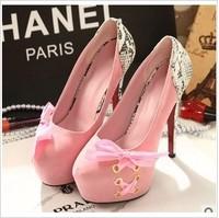 High-heeled shoes princess 2014 spring lacing serpentine pattern bow platform thin heels single shoes