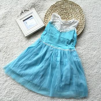 Retail 2014 Girls dresses Lace dress baby girls sky blue sleeveless dress Princess Party free shipping