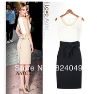 Free shipping 2013 new style top fashion women back open button patchwork vintage sheath summer dress with butterfly belt