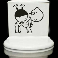 1PC Removable PVC Sticker Funny Toilet Wall Stickers For Bathroom Tile and Toilet Seat Cover Decor Waterproof Decals