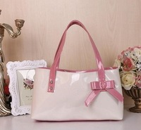2014 New Fashion summer candy color patent leather designers women handbags with bow ladies totes free shipping