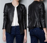 2013 autumn women's ruffle behind patchwork collarless slim leather jacket  free shipping 071189