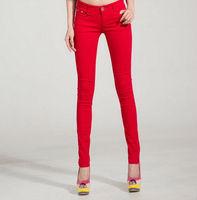 11 Colors Large Size Free Shipping Korean Style Women Fashion Candy Color Slim Pencil Jeans Pants JK004