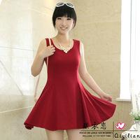 2014 New brand fashion casual spring summer women plus size big size 6 colors cotton big peplum tank dress