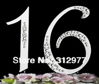Wholesale 60pcslots Partial Diamante Covered Cake Topper Numbers for Birthday/Anniversary