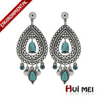 Free Shipping Min Mix Order $10 New Arrival Vintage Women Blue Turquiose Stone Pendant Vintage Statement Drop Earrings Jewelry