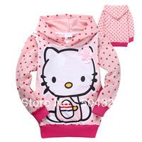 Free Shipping Hot 6pcs/lot Kids girls hello kitty hoodies baby cartoon cat T shirts Sweatshirts kids outerwear clothes wholesale