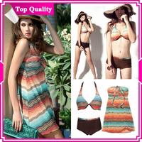 DYYY-0309  Wholesale Women Tankini Halter Swimsuit Shorts Bathing 3pcs Set, free shipping,size M L XL