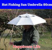Free shipping umbrella Hat fishing umbrella rain sun umbrella two fold 80cm free shipping 2 piece/lot