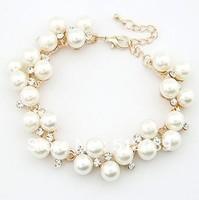New Fashion Design Gold Plated Rhinestone Created Pearl Bracelet  Vintage Fashion Jewelry FREYA/033