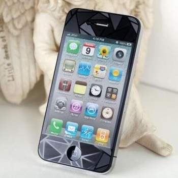 High Quality 3D Diamond Film Screen Guard Protector front+Back for iphone 4 4S with Retail Package  100pcs/lot