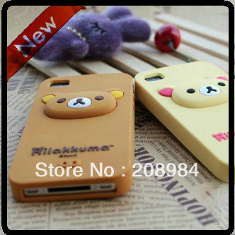 Hot sell 3D Cartoon  Korea rilakkuma bear silicone cover case ,Animal case for iphone 4 4S 4g 30pcs/lot+free shiping