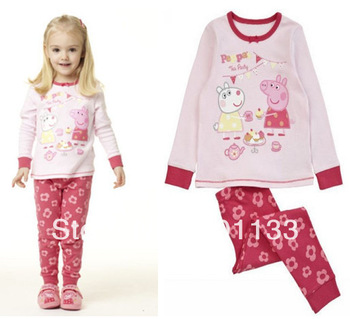 5pcs Free Shipping 2013 Autumn Winter Children Clothing Kid Sleepwear Pajamas Baby Kids Pajamas Baby Peppa pig