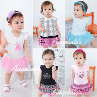 Baby Girls Romper Short Sleeve Romper T 5-color Fashion sweet multi-layer yarn Baby clothing 3-24M baby romper