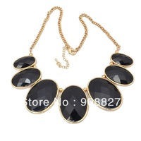 2013 New Arrival Gold Plated Elegant Zinc Alloy Bohemian Black Resin Bib Bubble Statement Necklace,High Quality,Free Shipping