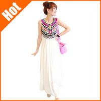 2013 summer Dresses print national trend pattern bohemia pleated sleeveless chiffon maxi long patchwork dress for women