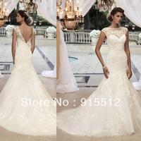Hot Sale Elegant 2013 Mermaid Jewel Neck Cap Sleeves Applique Embellished Court Train Organza Custom Made Bridal Wedding Dress