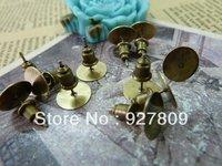 Ancient bronze 10mm stud earring bullet 80pcs/lot
