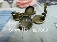 Diy iron materials of ancient bronze 12mm earrings  20pcs/lot