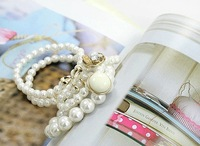Min Order $10 Fashion Jewelry White&Black Button Pearl Bow Layers Bracelet