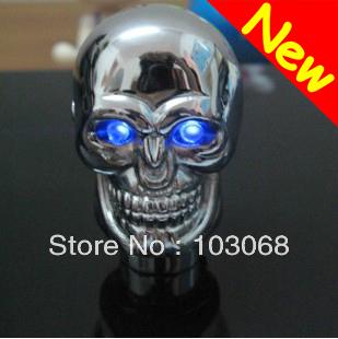 Blue LED Chrome Skull Universal Car Truck Motor Manual Gear Shift Knob Rod New(China (Mainland))