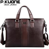 P.Kuone 2015 designer brand handbags shoulder bags vintage genuine leather bag men business luxury men briefcase laptop bolsas
