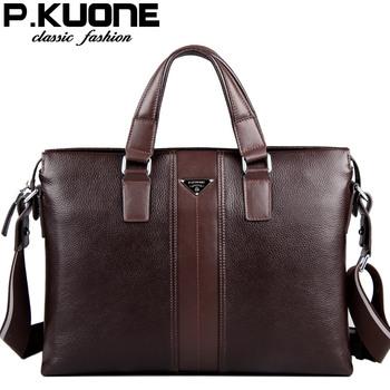Sacos P.Kuone grife 100% homens couro genuíno bolsas de couro homem de couro maleta de negócios bolsa para laptop homens messenger