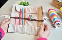 LZ Korea stationery box fresh lace roll pencil case canvas pen curtain elegant pencil bags for cosmetic 27*20cm