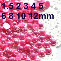 resin AB rose pearl 1.5-12mm 10000-1000pcs/lot flat back half pearl free shipping