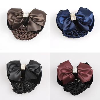 2 Pcs Women Big Bow Hair Clip Snood Net Bun Cover Crystal Dressage Ponttail Holder