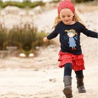 Wholesale-100% cotton 5 sets/lot Little girl long-sleeve casual suit set girls skirts suit headband+ T shirts+ pants+skirt