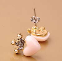 Min.order is $10 (mix order) Free Shipping Korean Pop Imitation Diamond Crown Hearts Earring
