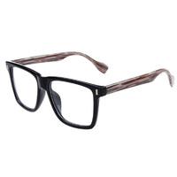Rivet plain mirror box big box black wood grain eyeglasses frame myopia