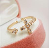 Sunshine jewelry store fashion exquisite rhinestone cross ring J335 ( $10 free shipping )