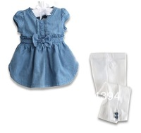 New! Free Shipping (5sets/lot) kids clothes Girls Set 2-pcs Girls bow cowboy suit girl cowboy suit with short sleeves