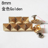 Free shipping!10pcs 8*8mm Demonstrated is a square stud pyramid suitable for decorating handbags and clothing