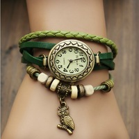 Min.order is $5 New Fashion Cow Leather watches with wooden bead , Retro little Owl dress Analog watch for women,Free shipping
