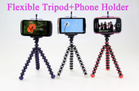 Free Shipping +Tracking Number 1PC Small Flexible Tripod +1PC Phone Holder Stand for Mobilephone,MP3,MP4