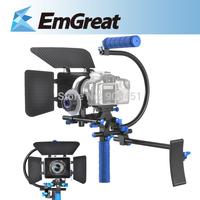 New DSLR VCR Shoulder Mount Rig Movie Kit+Follow Focus+Matte Box+Top Handle Grip 5D 7D For Camera 015008 Free Shipping