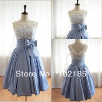 Actual photo a line short sleeveless taffeta and lace bridesmaid dress JBD004