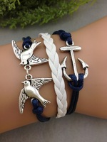 3pcs Anchor & Bird bracelet --Antique Silver Bracelet--Wax Cords and Leather Bracelet--Friendship bracelet  1002  MIn order 10$